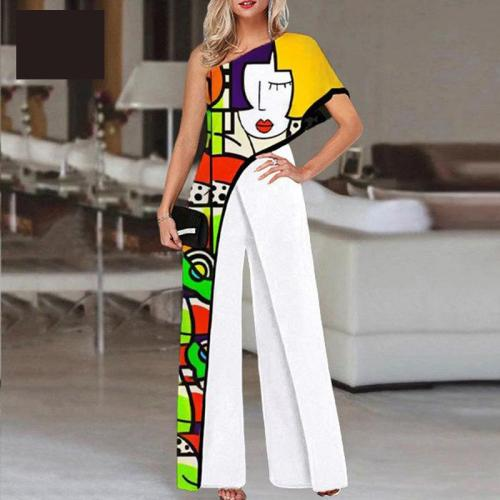 Women Jumpsuit Graffiti Printing Slant Shoulder Rompers Womens Jumpsuit Fashion High Waist Wide Leg Summer Jumpsuits 2021