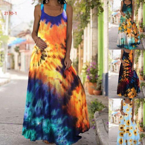 Vintage Summer Butterfly Print Dress Women Oversized Boho Clothes Beach Sleeveless Long Dress Casual S-5XL Plus Size Dresses