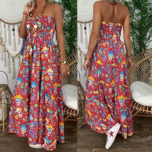 2021 Summer Womens Strapless Bandeau Long Maxi Dress Floral Print Beach Boho Tube Sundress Sexy Sleeveless Backless Dresses Fema