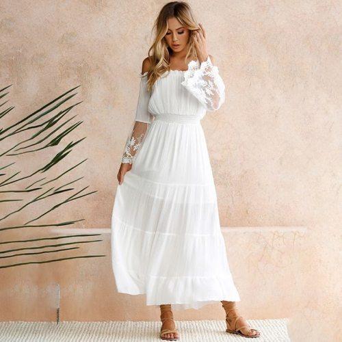 2021 Women Strapless Long Sleeve Loose White Beach Dress Sexy Off Shoulder Lace Boho Women Maxi Dress