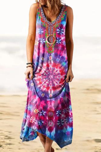 Sexy V-neck Tie Dye Printed Long Dress Women Summer Beach Maxi Long dress spaghetti Sleeveless Casual Holiday Sundress Vestidos