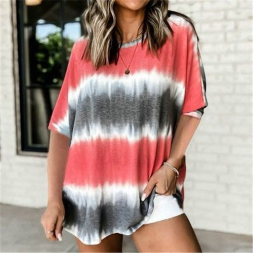 Oversized 5XL Women Tshirt Casual Loose Printed T-Shirt 2021 New Summer Short Sleeve O-Neck Tops 4XL Lady Tie-dye Tops Plus Size
