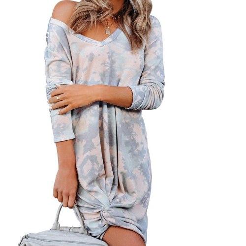 Women Knot Printing Dress Long Sleeve Casual Woman  Lady Tie Dye Dress 2021 Holiday Summer Beach Dress