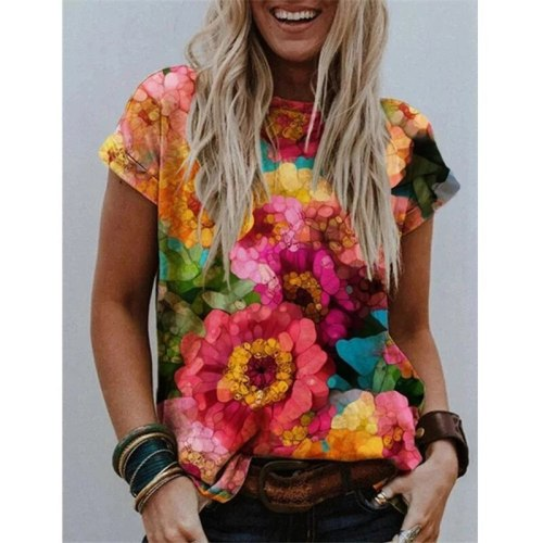 Casual Women Tops Summer Short Sleeve Floral T-Shirt Large Size 4XL 5XL Female Loose Tops 2021 New Fashion Printed Ladies Tops