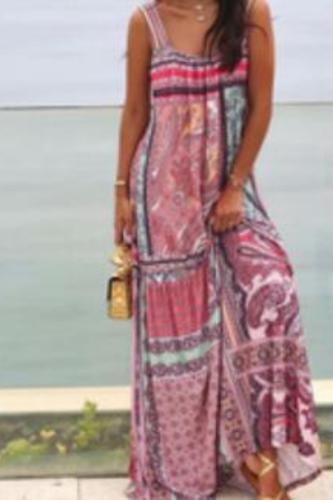 Women Dress Sleeveless Spaghetti Strap Print Bohemia Dress Sexy Long Print Floral Maxi Dresses Loose Long Summer Dresses
