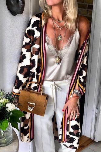 Women Fashion Cool Mid-length Leopard Print Cardigan Coat Lady Autumn Clothes Trendy Trench Coat Windbreaker Streetwear FC736
