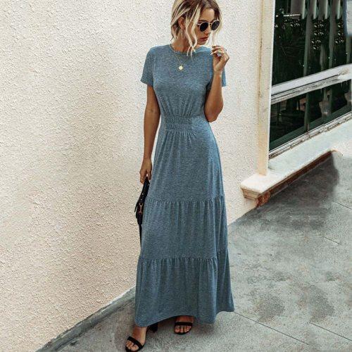 2021 Long Summer Dress Women Pleated Elegant Maxi Party Dress Ladies Sundress Floor Length Short Sleeve Casual Robe Femme