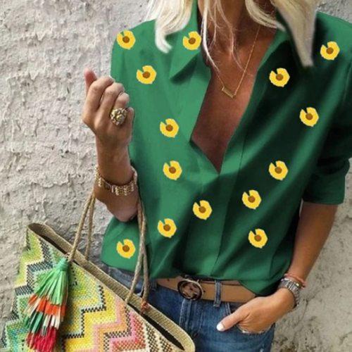 2021 Autumn Vintage Print Blouse Women Elegant Long Sleeve Work Office Shirt Tops Ladies Turn-down Collar Stylish Blouses