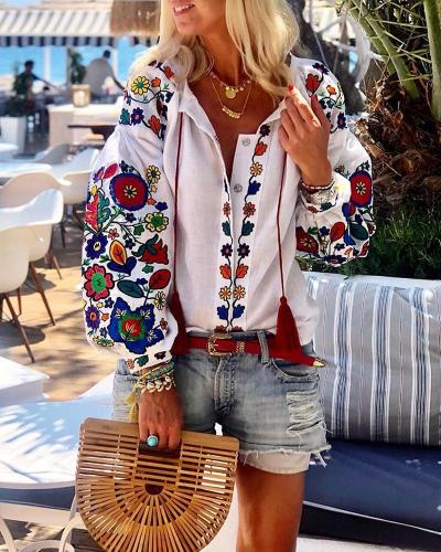 Women Floral Print Blouse Sexy V Neck Party Shirts 2021 Summer Tunic Beach Tops Office Ladies Casual Blusas Plus Size