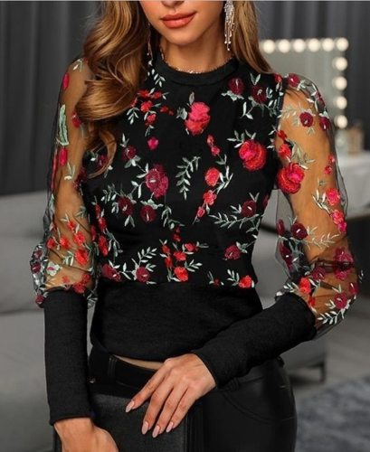 Women Blouse Tops Embroidery Floral Sheer Mesh Sleeve Blouse Shirts Women Spring Patchwork Pullovers Elegant Sexy Ladies Tops
