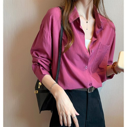 Gradient Color Shirts Womens 2021 Fashion Bright Blouse Female Elegant Lapel Button Blusa Casual Puff Sleeve Top Oversize