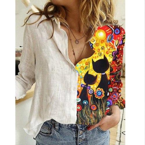 Plus Size 3xl Women's Tops New Pacthwork 3D Print Blouse Lapel Neck Blusas Female Long Sleeve Casual Shirts Women Clothing 2020