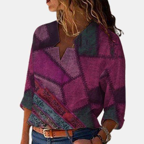 3XL Elegant Irregular V Neck Blouse Shirts 2021 Spring Plaid Print Patchwork Top Pullover Women Long Sleeve Autumn Clothes Blusa