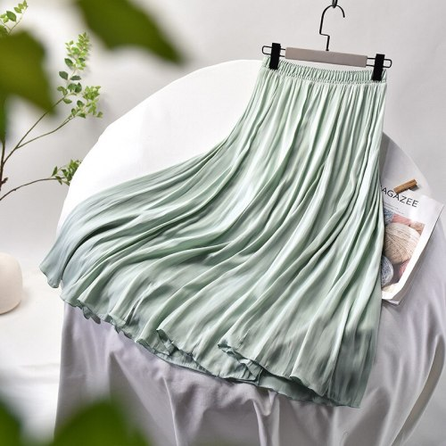 2021 Spring Woman Skirts Elastic High Waist Solid Soft Skirts Women Chic A-Line Elegant Skirts Mujer Faldas Femme Jupes Outwear