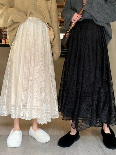 2021  New Spring And Summer Women's Waist Gauze Lace Skirt Thin A A-line Long