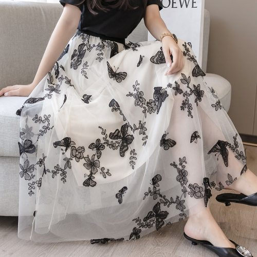 Maxi Tulle Mesh Pleated Skirt Women Summer Chic Floral Butterfly Embroidery High Elastic Waist Layered Fairy Skirt Female