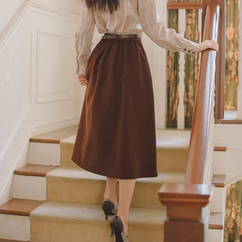 Japan Style Sweet Women's Skirt Winter Casual Elastic Waist Single Breasted A-Line Pleated Skirt With Belt Black Brown