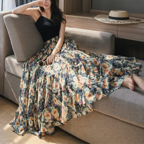 Summer Sweet Bright Floral Printed Boho Maxi Long Chiffon Skirts Patchwork Flared A-line Casual Beach Chiffon Ankle Long Skirts