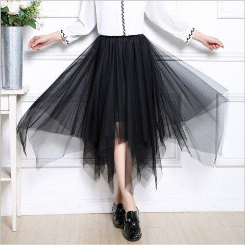 Womens Tulle Fashion Elastic High Waist Mesh Skirt Tutu Pleated Long Midi Women's Skirt