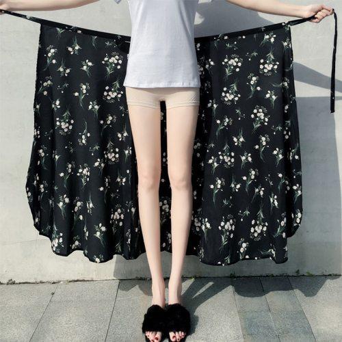 Wrap Skirts Women Casual Chiffon Tie-Waist Ruffle Wide Leg Loose