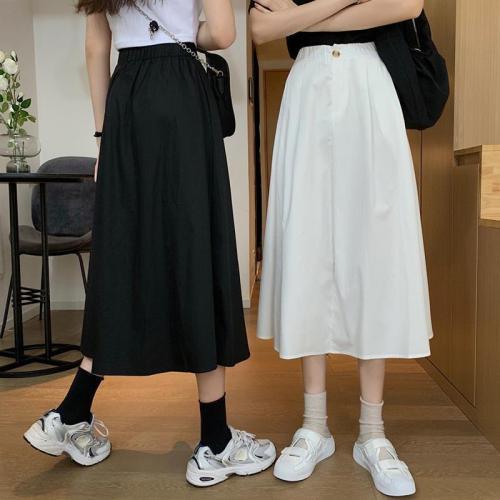 Skirts Women Basic Summer Fashion All-match Solid Empire Womens Mid-Calf Skirt Elastic Waist Black Classic Korean Femme Clothes