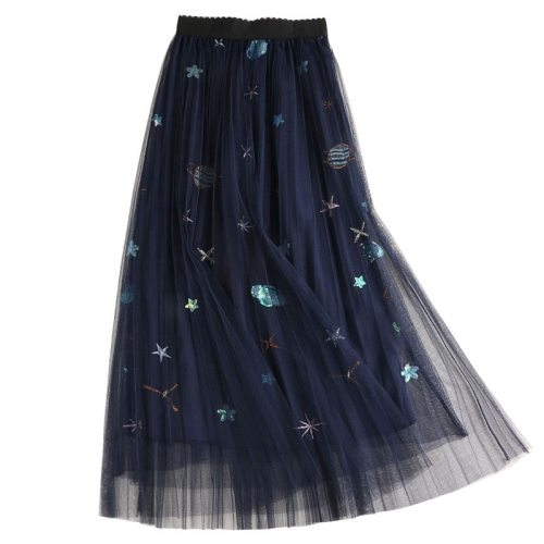 Sweet Embroidered Pleated Tulle Skirt Women Summer A Line Long Skirts High Waist Sequined Planets Mesh Maxi Skirts