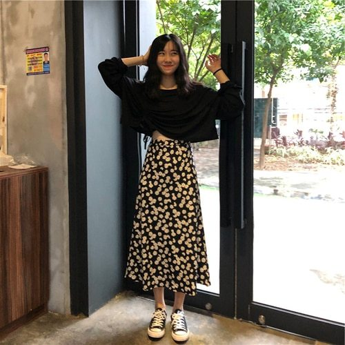 Flower Pattern Casual Fresh Loose Basic Simple College Wind 2020 Summer Chiffon Female Women New Arrival A-line Skirts