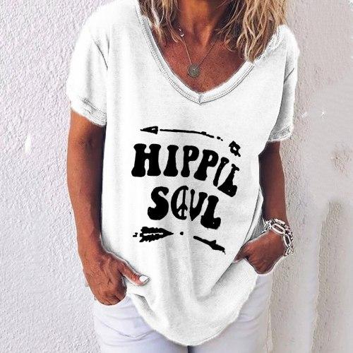 T Shirt Womens Summer Casual V Neck T-shirt Ladies Short Sleeve Letter Print Tops Plus Size Tee Shirt femme 2021
