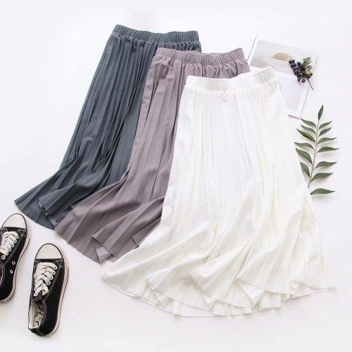 2021 Women Summer A-Line Pleated Skirt High Waist Elegant Pink Skirt Casual Clothes Faldas Jupe Femme Saia Women Midi Skirts