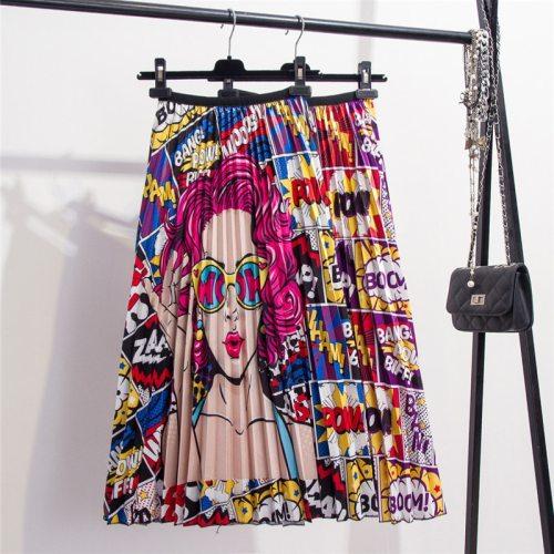 2021 New Printing High Waist Pleated Skirt Women Spring Summer Midi Skirts Womens Elastic Waist A Line Long Skirts For Women Rok