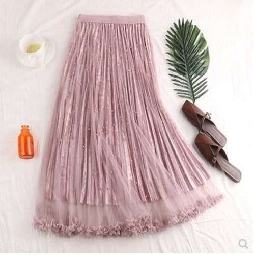 Fashion Beading Skirt Women Spring Elegant Long Skirt Female High Waist Girls Skirt