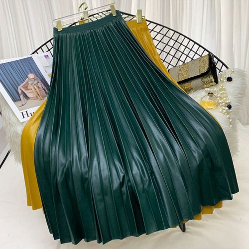 PU Leather Pleated Skirt Women Autumn Winter 2020 New European Style Elastic High Waist Solid Midi Long Skirts Female