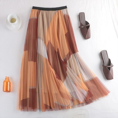 Spring New Big Swing Skirt High Waist Thin Double-Layer Mesh Skirt Female Mid-Length A-Line Pleated Skirt 767