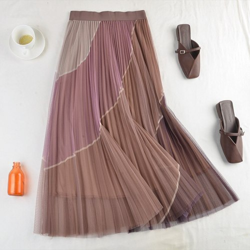 New High-Waisted Thin Elastic Waist Pleated Double-Layer Mesh Contrast Stitching Mid-Length Skirt Early Spring Female 542