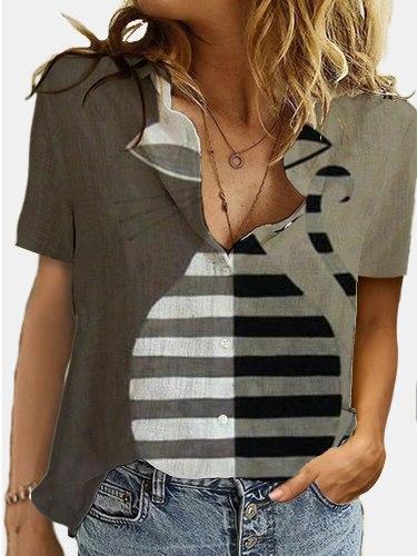 Creativity Cute Cat Print Women's Blouse Shirt 2021 Summer New Lightweight Personality 3D Short Sleeve Casual Trendy Lady's Tee