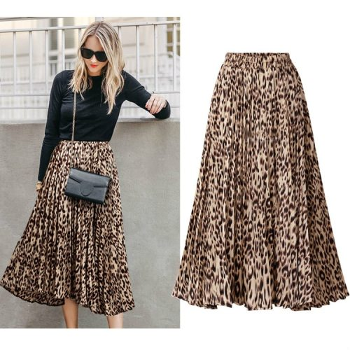Plus Size Leopard Print Skirts Womens 2020 New Spring Autumn Elastic Waist A Line Pleated Midi Skirt Casual Streetwear