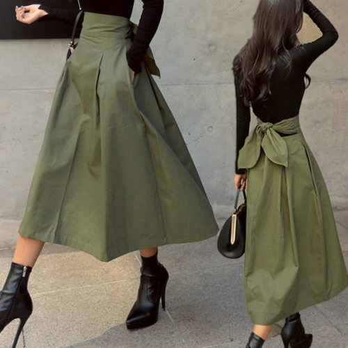 Skirts Womens Korean Fashion Solid Color Big Swing Ladies Skirt Long Skirt 2020 Autumn Wild High Waist Bow Slim Skirts
