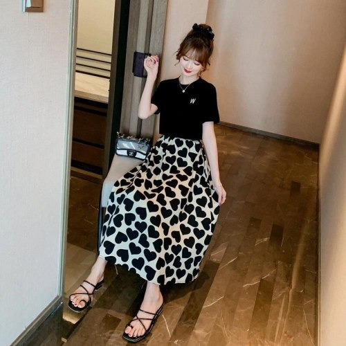 S-3XL Women Skirts Hajuku Korean Style Summer New Chic Elastic High-waist Printed Casual Elegant Trendy Soft Simple All-match
