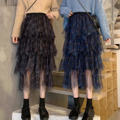 Spring Cakee Blue Plaid Patchwork Retro Long Tulle Skirts High Low Irregular Check Maxi Long Mesh Skirts