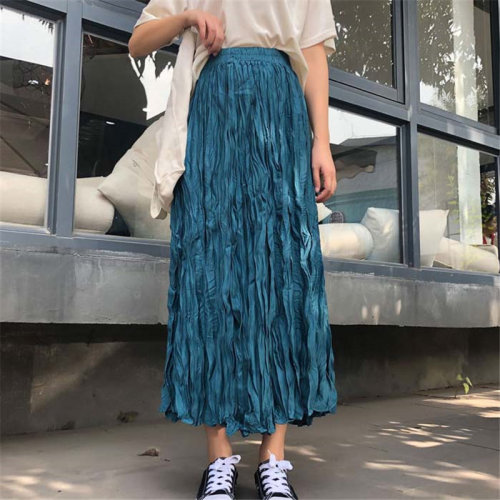 Korean New Arrival High Waist Pleated Large Size Women Warm High Street Office Lady All-Match Long Skirts 6 Colors