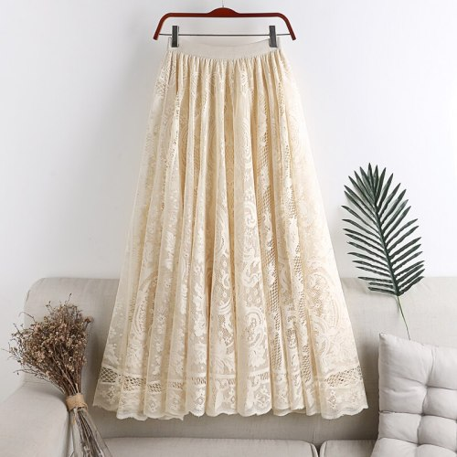 Flavor Small Fresh Skirt High Waist Thin Mid-Length Skirt 2020 Summer Hollow Crochet Lace Female Skirt