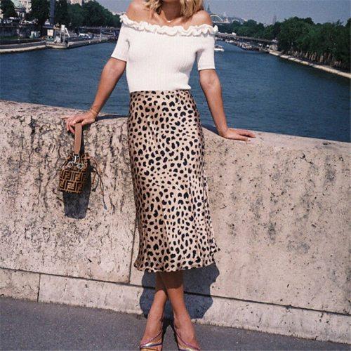 Women Wrap Ruffles A Line High Waist Skirt 2018 Ladies Casual Leopard Printed Short Mini Skirts Slim Leopard Evening Party Skirt