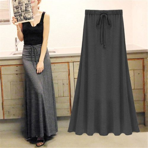 Sexy Summer Slit Side Skirt Women Fashion Casual Long Maxi Skirt Sexy Stretchy Solid Lace-Up Gray Black Skirts