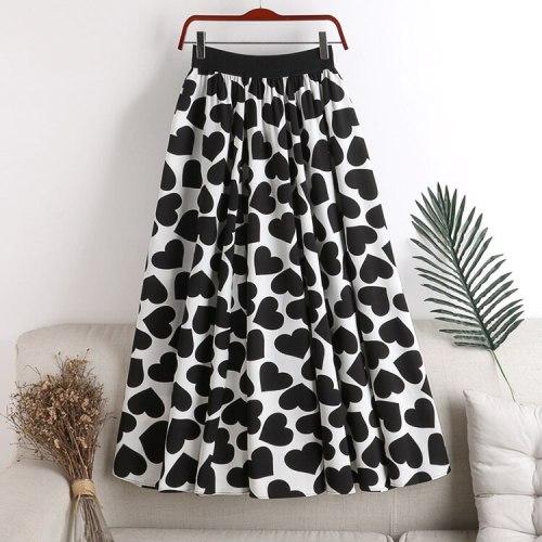 2021 New Women Summer A-Line Skirt High Waist Heart Print Women Pleated Skirt Femme Faldas Jupe Saia Spring Women Clothes