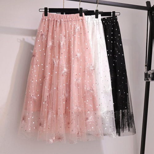 Plus Size Skirt Women's Spring New Embroidered Mesh Skirt Beaded Wave Dot Fashion Sweet Girls Elastic High Saias Summer zh160
