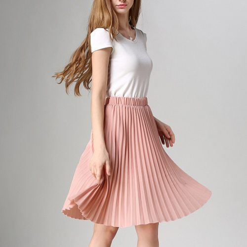 Women Chiffon Pleated Skirt Vintage High Waist Tutu Skirts Womens Saia Midi Rokken 2020 Summer Style Jupe Femme Skirt