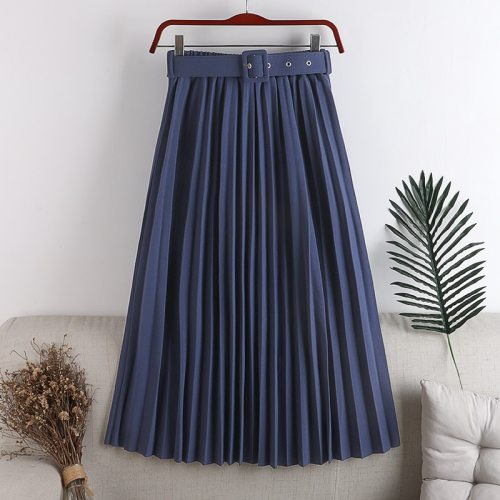 2021 New High Waist Women's Pleated Skirts with Belted Spring Summer Minimalism Elegant Office Female Mi-long Skirt Saia