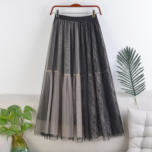 Double-layer Mesh Lace Stitching Mid-length Skirt, New High-waist A-line Large Elastic Waist Long Skirt, Spring and Autumn Women