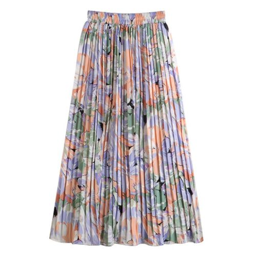 Boho Summer Skirt 2021 Floral Print Long Chiffon Skirts Womens Elastic High Waist Casual Pleated Skirt Clothing Jupes Jurken