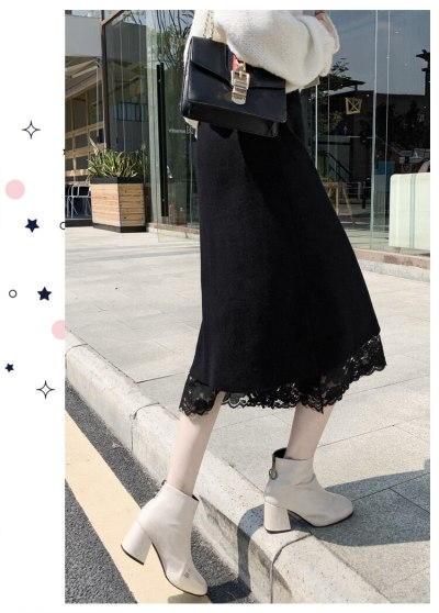 Korean Version of Thin Two-sided Skirts 2021 Spring New Lace Pleated Knitted Mid-length A-line Gauze Skirt Female Fashion Trend